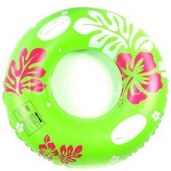 Zelený nafukovací kruh do vody s květinami 75 cm